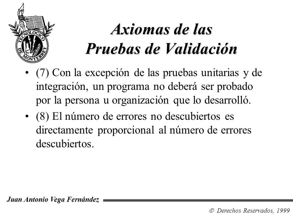 Derechos Reservados, 1999 Juan Antonio Vega Fernández Axiomas de las Pruebas de Validación (7) Con la excepción de las pruebas unitarias y de integrac