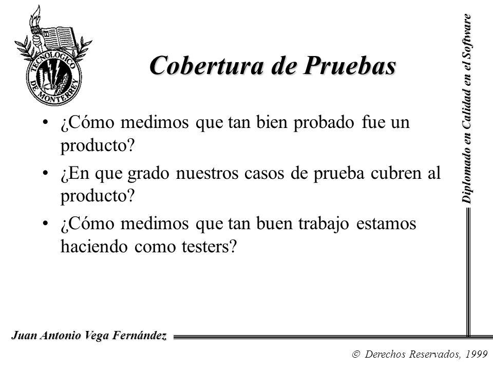 Diplomado en Calidad en el Software Derechos Reservados, 1999 Juan Antonio Vega Fernández ¿Cómo medimos que tan bien probado fue un producto? ¿En que