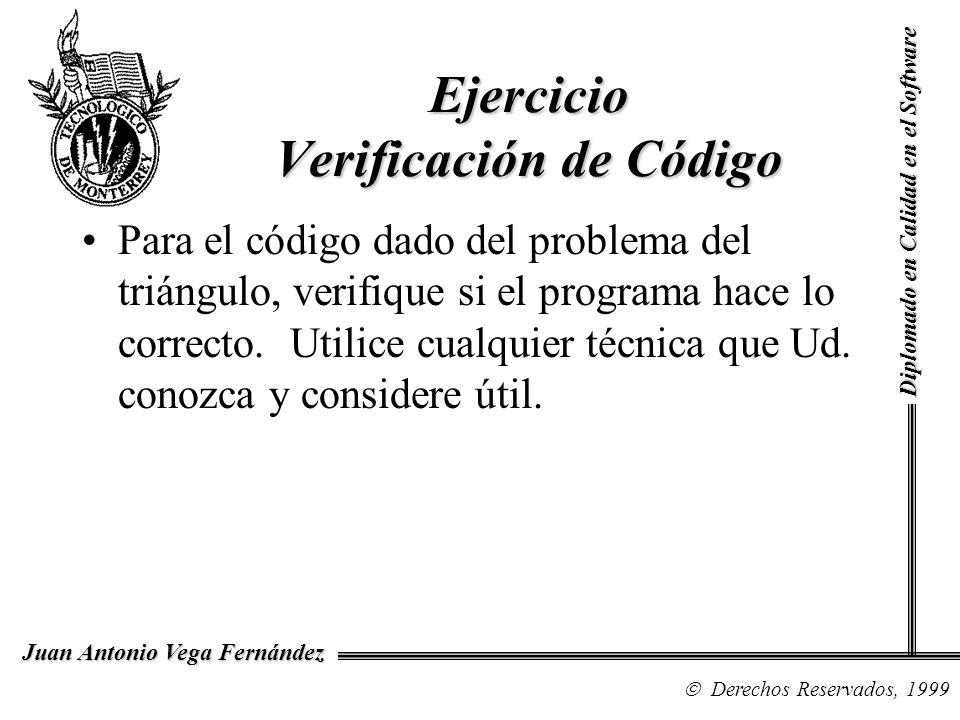 Diplomado en Calidad en el Software Derechos Reservados, 1999 Juan Antonio Vega Fernández Para el código dado del problema del triángulo, verifique si