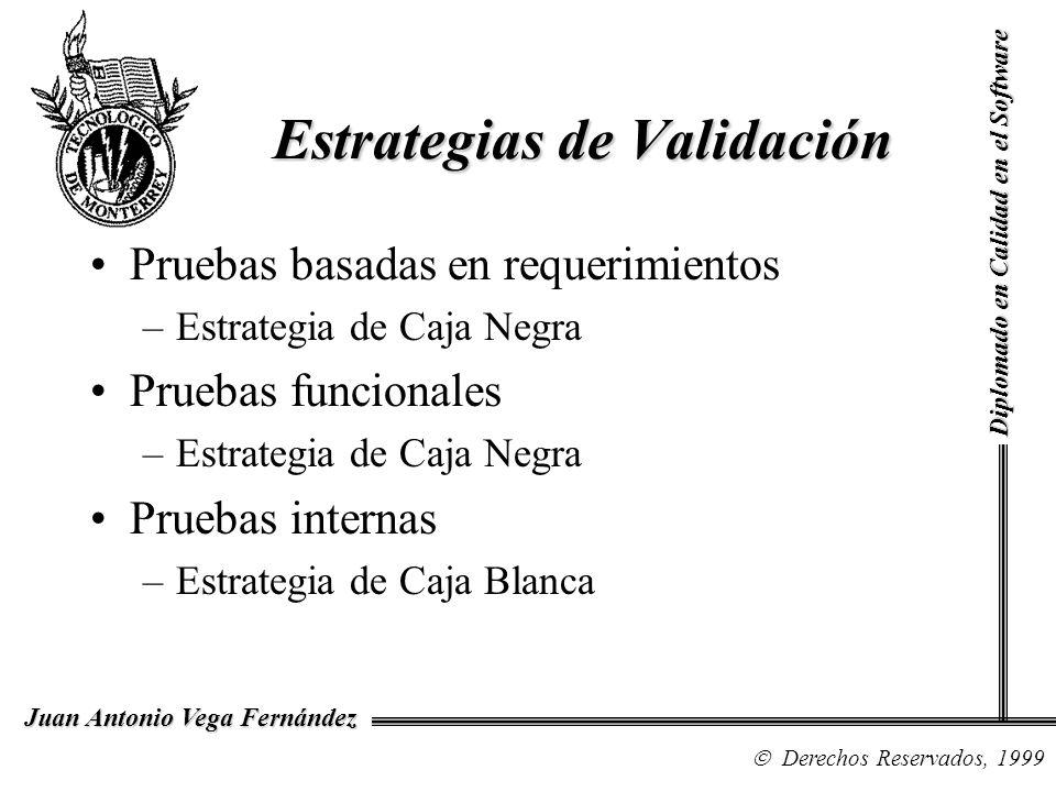 Diplomado en Calidad en el Software Derechos Reservados, 1999 Juan Antonio Vega Fernández Pruebas basadas en requerimientos –Estrategia de Caja Negra