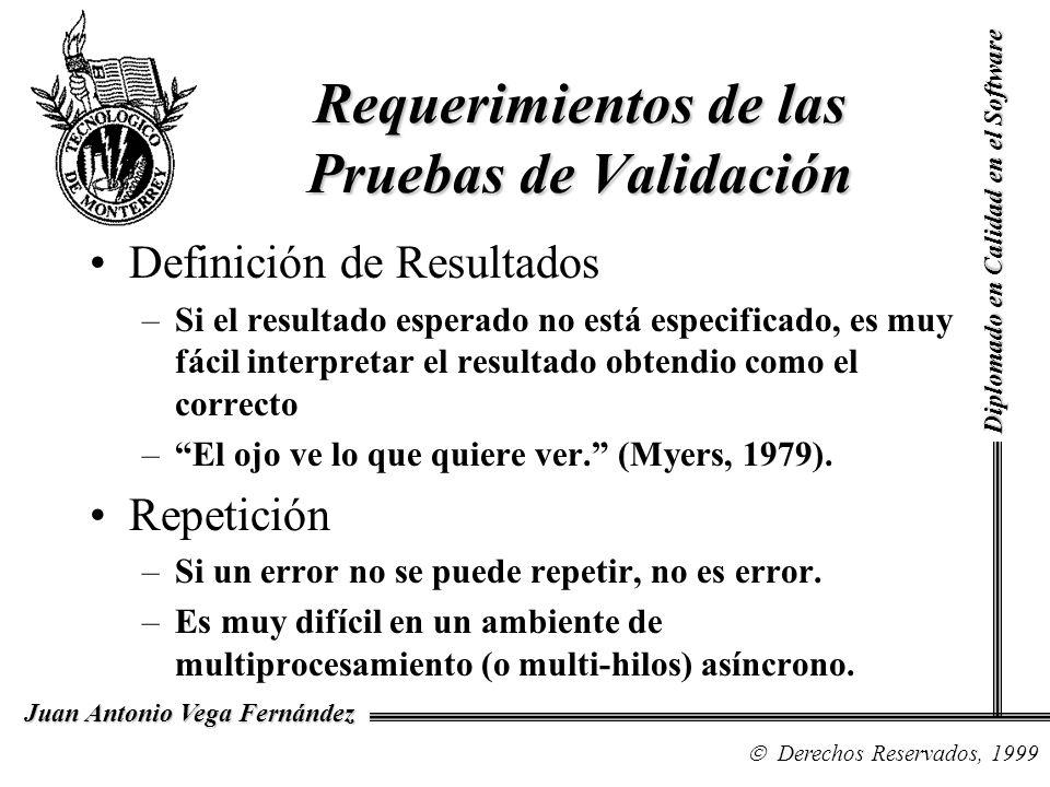 Diplomado en Calidad en el Software Derechos Reservados, 1999 Juan Antonio Vega Fernández Definición de Resultados –Si el resultado esperado no está e