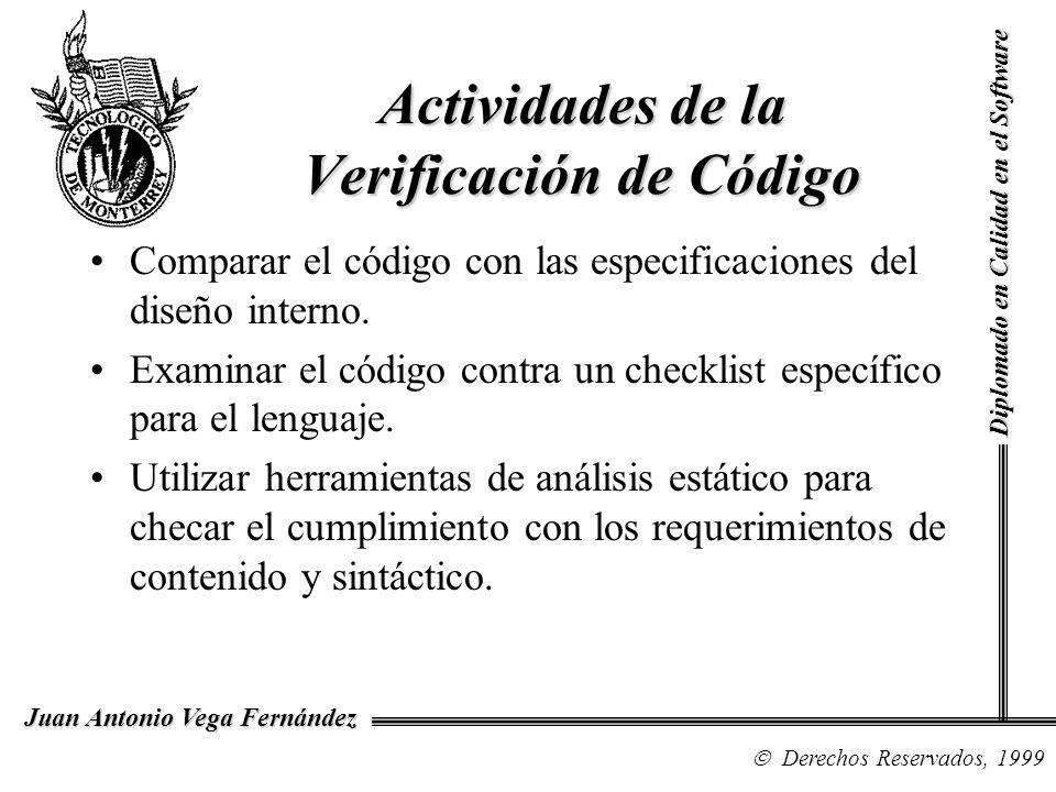 Diplomado en Calidad en el Software Derechos Reservados, 1999 Juan Antonio Vega Fernández Comparar el código con las especificaciones del diseño inter