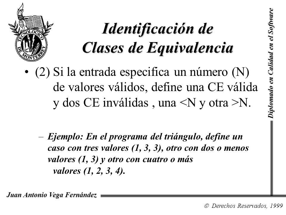 Diplomado en Calidad en el Software Derechos Reservados, 1999 Juan Antonio Vega Fernández Identificación de Clases de Equivalencia (2) Si la entrada e