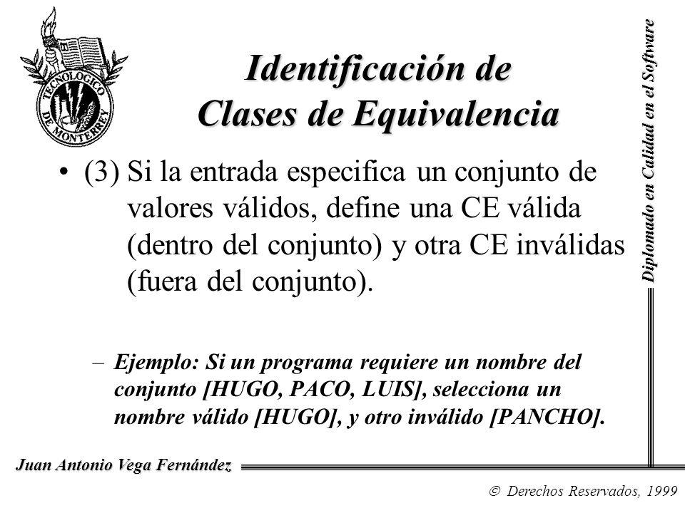 Diplomado en Calidad en el Software Derechos Reservados, 1999 Juan Antonio Vega Fernández (3) Si la entrada especifica un conjunto de valores válidos,