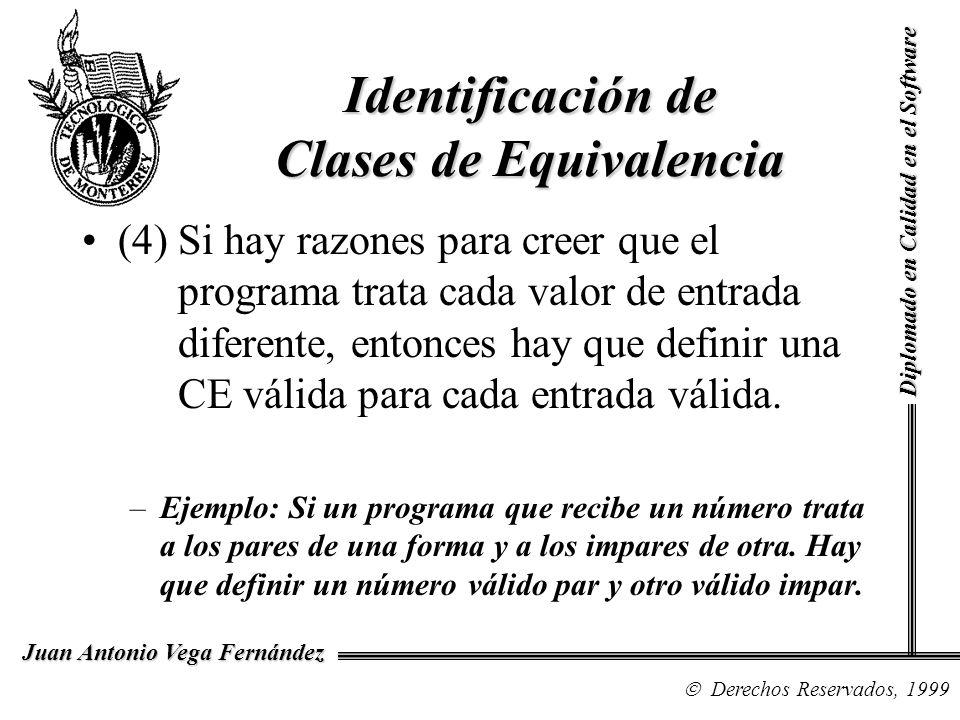 Diplomado en Calidad en el Software Derechos Reservados, 1999 Juan Antonio Vega Fernández (4) Si hay razones para creer que el programa trata cada val