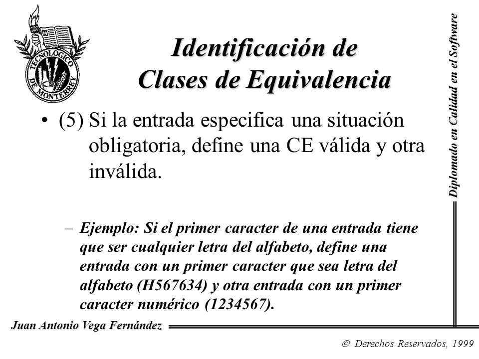 Diplomado en Calidad en el Software Derechos Reservados, 1999 Juan Antonio Vega Fernández (5) Si la entrada especifica una situación obligatoria, defi