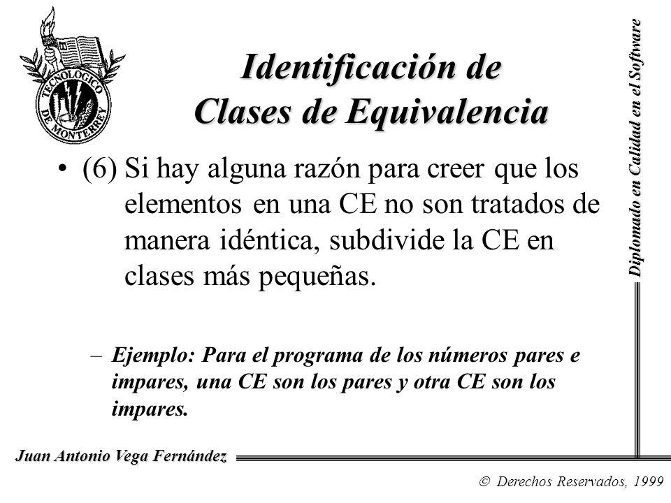 Diplomado en Calidad en el Software Derechos Reservados, 1999 Juan Antonio Vega Fernández (6) Si hay alguna razón para creer que los elementos en una