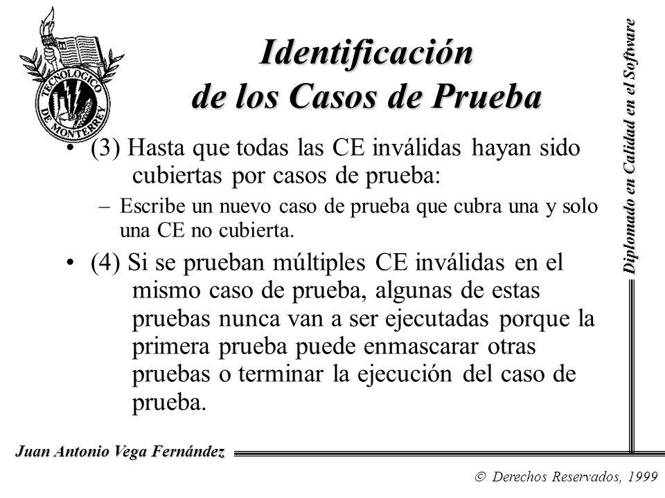 Diplomado en Calidad en el Software Derechos Reservados, 1999 Juan Antonio Vega Fernández (3) Hasta que todas las CE inválidas hayan sido cubiertas po