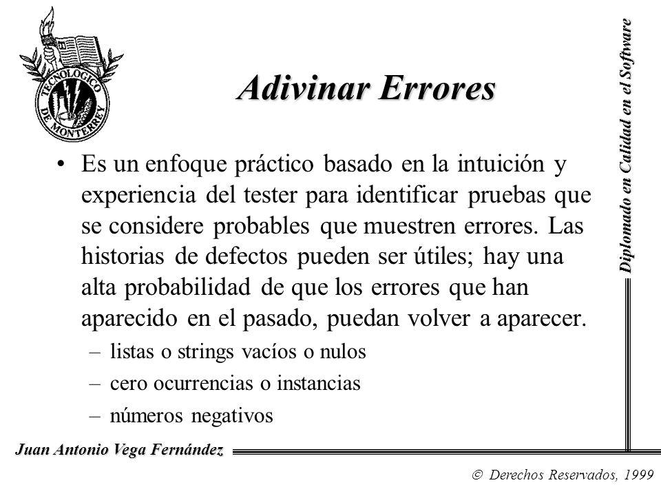 Diplomado en Calidad en el Software Derechos Reservados, 1999 Juan Antonio Vega Fernández Es un enfoque práctico basado en la intuición y experiencia