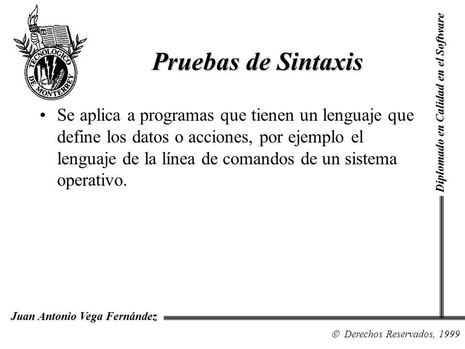 Diplomado en Calidad en el Software Derechos Reservados, 1999 Juan Antonio Vega Fernández Se aplica a programas que tienen un lenguaje que define los