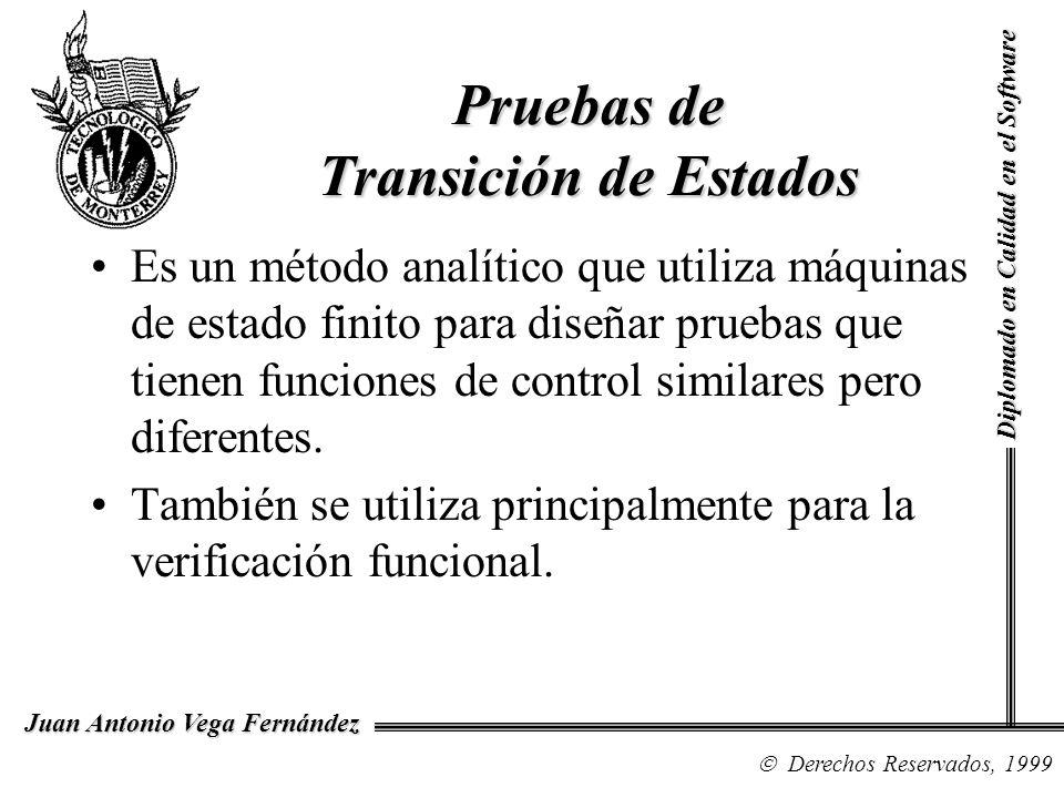 Diplomado en Calidad en el Software Derechos Reservados, 1999 Juan Antonio Vega Fernández Es un método analítico que utiliza máquinas de estado finito