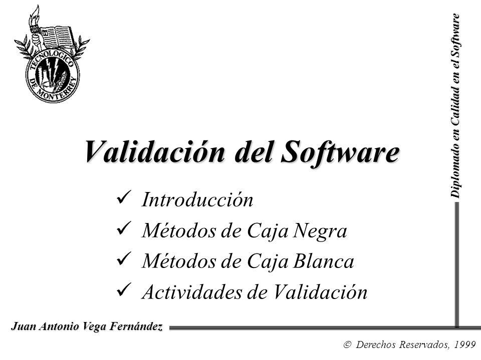 Validación del Software Introducción Métodos de Caja Negra Métodos de Caja Blanca Actividades de Validación Diplomado en Calidad en el Software Derech