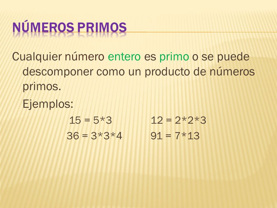 Cualquier número entero es primo o se puede descomponer como un producto de números primos. Ejemplos: 15 = 5*3 12 = 2*2*3 36 = 3*3*491 = 7*13