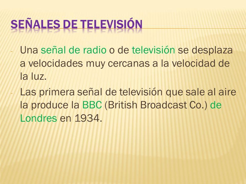 - Una señal de radio o de televisión se desplaza a velocidades muy cercanas a la velocidad de la luz. - Las primera señal de televisión que sale al ai