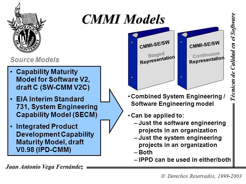 CMMI Models Source Models Capability Maturity Model for Software V2, draft C (SW-CMM V2C) EIA Interim Standard 731, System Engineering Capability Mode