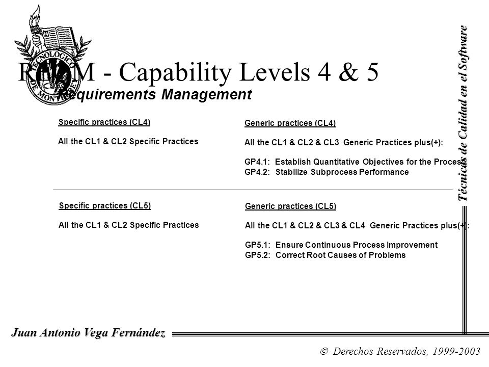 REQM - Capability Levels 4 & 5 Requirements Management Specific practices (CL4) All the CL1 & CL2 Specific Practices Generic practices (CL4) All the C