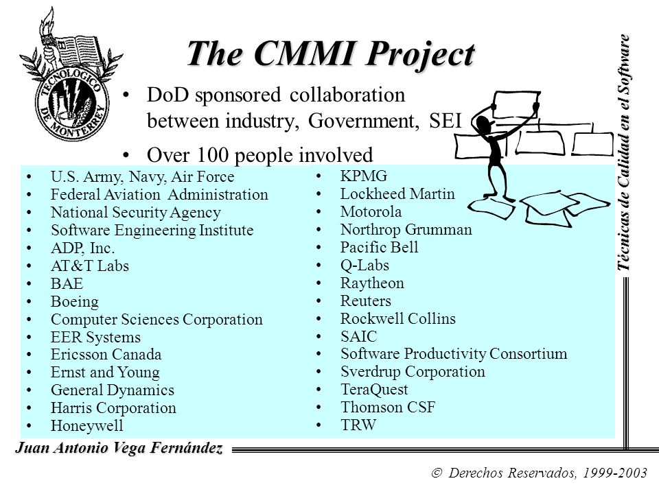 Organization of Continuous Model -1 Six chapters provide an overview –The Introduction –Structure of the Model –Model Terminology –Capability Level and Generic Model components –Understanding the Model –Using the Model Técnicas de Calidad en el Software Derechos Reservados, 1999-2003 Juan Antonio Vega Fernández