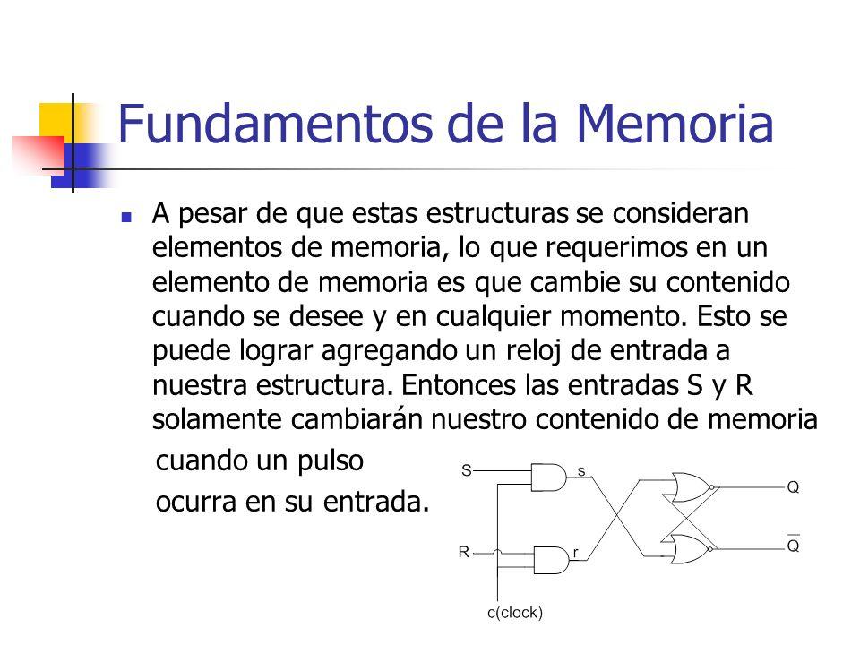 A pesar de que estas estructuras se consideran elementos de memoria, lo que requerimos en un elemento de memoria es que cambie su contenido cuando se