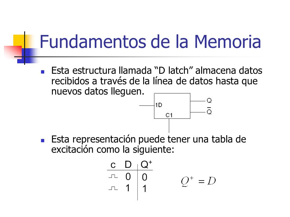 Esta estructura llamada D latch almacena datos recibidos a través de la línea de datos hasta que nuevos datos lleguen. Esta representación puede tener