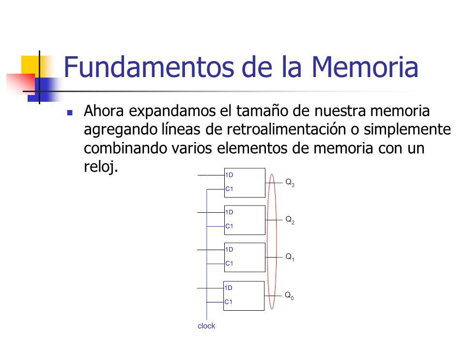 Ahora expandamos el tamaño de nuestra memoria agregando líneas de retroalimentación o simplemente combinando varios elementos de memoria con un reloj.