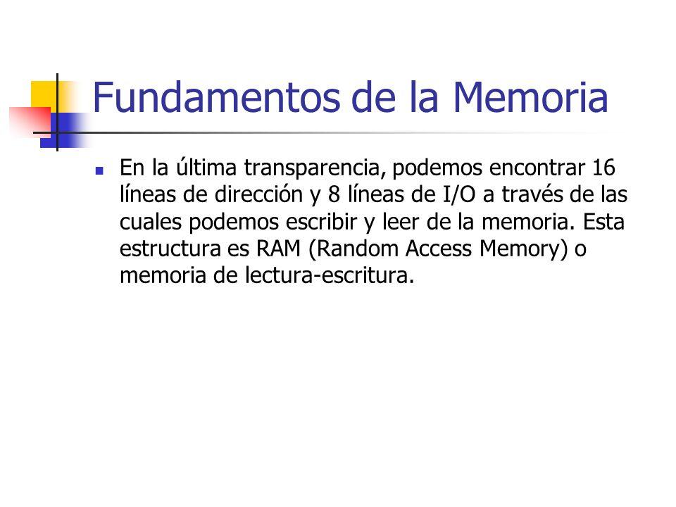 En la última transparencia, podemos encontrar 16 líneas de dirección y 8 líneas de I/O a través de las cuales podemos escribir y leer de la memoria. E