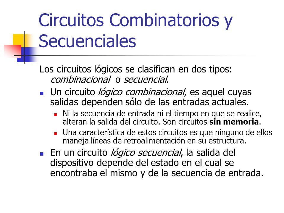 Circuitos Combinatorios y Secuenciales Los circuitos lógicos se clasifican en dos tipos: combinacional o secuencial. Un circuito lógico combinacional,