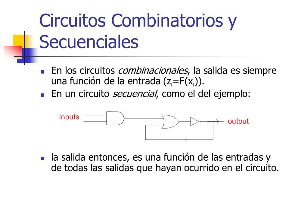 Circuitos Combinatorios y Secuenciales En los circuitos combinacionales, la salida es siempre una función de la entrada (z i =F(x i )). En un circuito