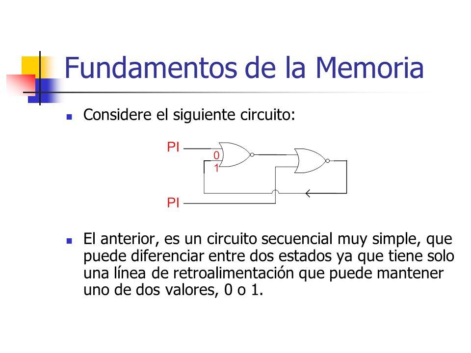 Fundamentos de la Memoria Considere el siguiente circuito: El anterior, es un circuito secuencial muy simple, que puede diferenciar entre dos estados