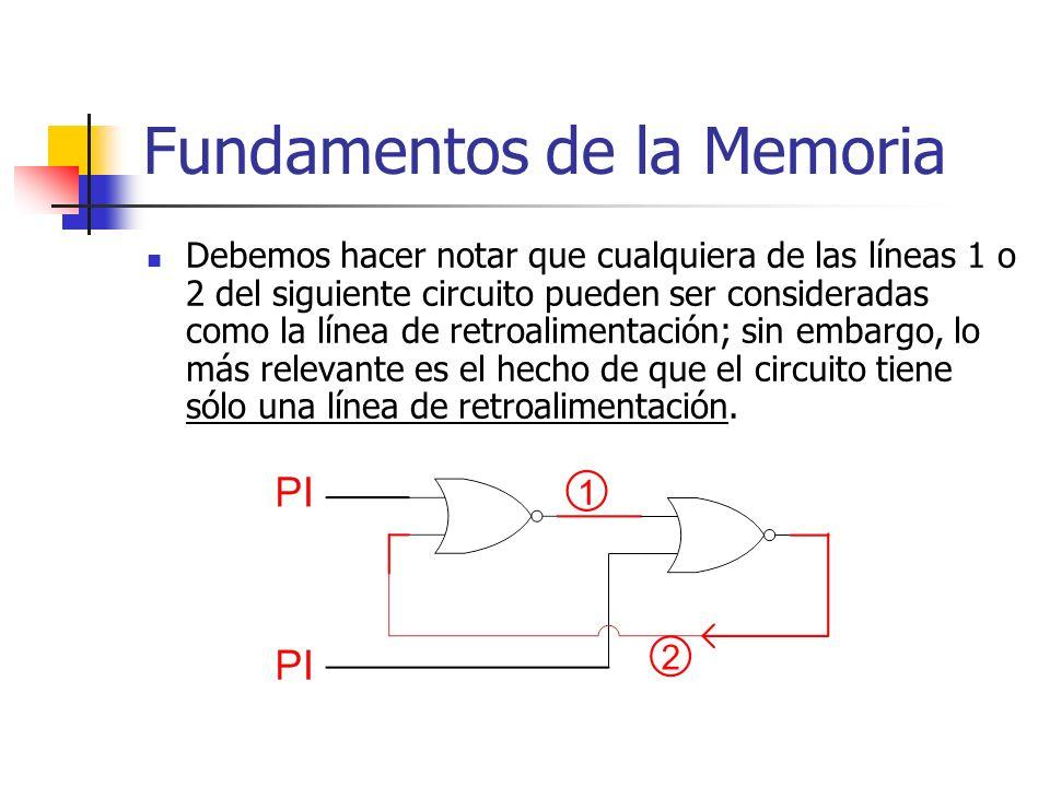 Fundamentos de la Memoria Debemos hacer notar que cualquiera de las líneas 1 o 2 del siguiente circuito pueden ser consideradas como la línea de retro