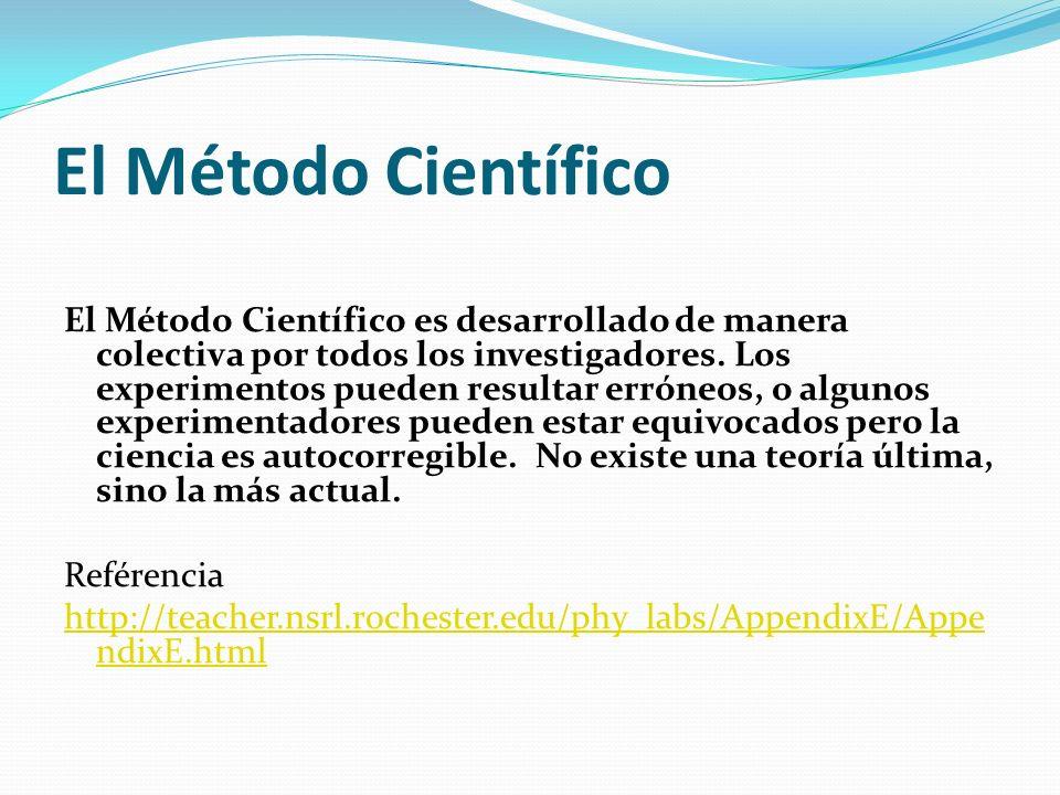 El Método Científico El Método Científico es desarrollado de manera colectiva por todos los investigadores. Los experimentos pueden resultar erróneos,
