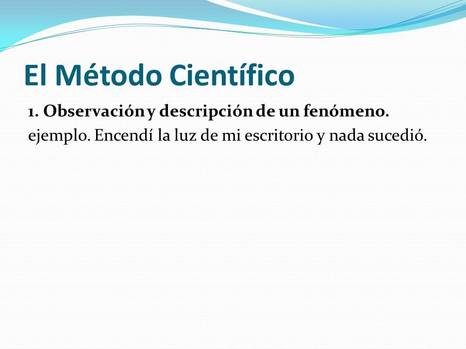 El Método Científico 1. Observación y descripción de un fenómeno. ejemplo. Encendí la luz de mi escritorio y nada sucedió.