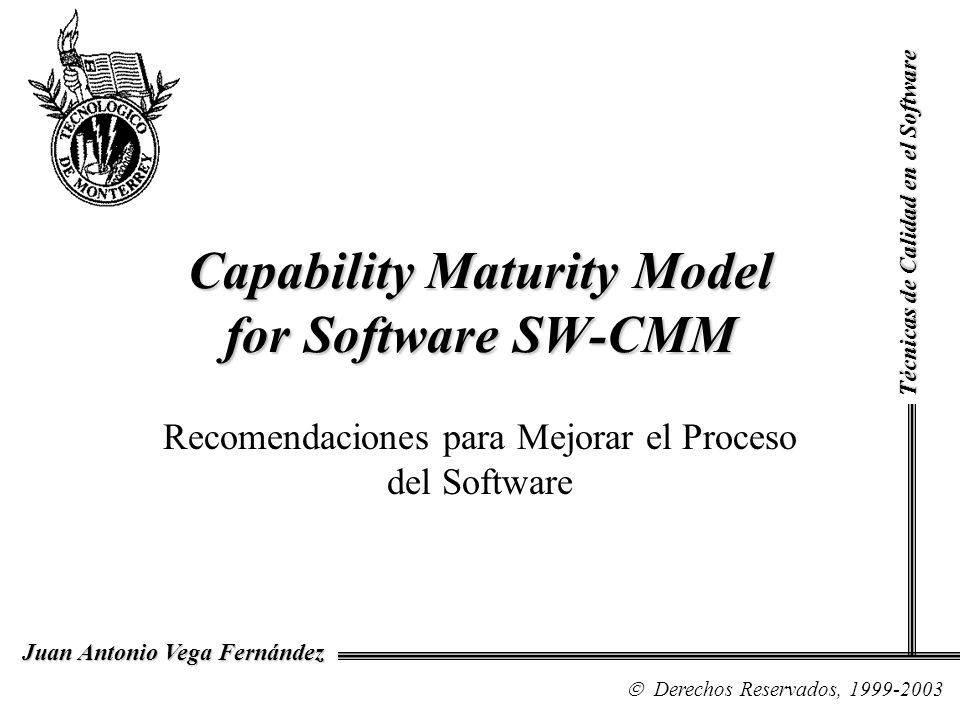 Técnicas de Calidad en el Software Derechos Reservados, 1999 Juan Antonio Vega Fernández Los 5 Niveles de Madurez del Proceso de Software Inicial Repetido Definido Administrado Optimizado [Ver Fig.