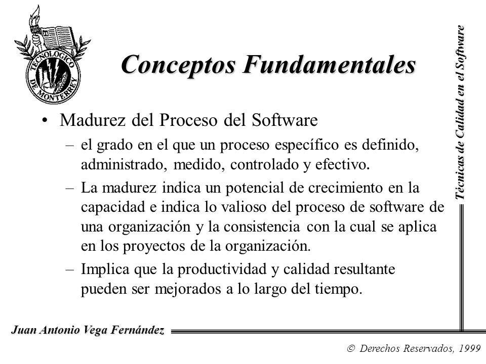 Técnicas de Calidad en el Software Derechos Reservados, 1999 Juan Antonio Vega Fernández Madurez del Proceso del Software –el grado en el que un proce