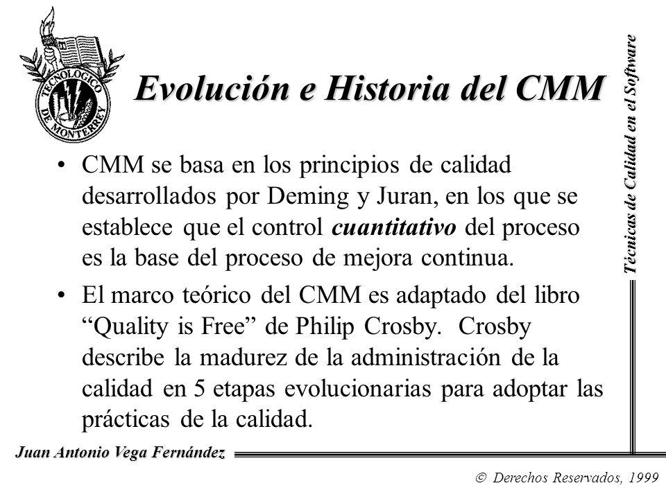 Técnicas de Calidad en el Software Derechos Reservados, 1999 Juan Antonio Vega Fernández CMM se basa en los principios de calidad desarrollados por De