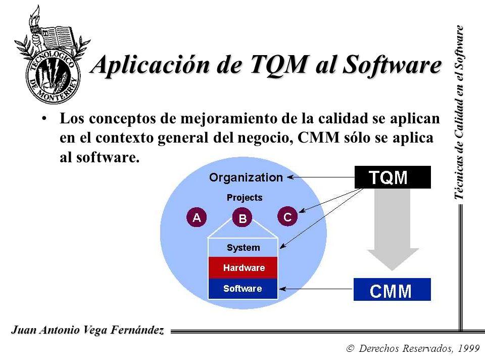 Técnicas de Calidad en el Software Derechos Reservados, 1999 Juan Antonio Vega Fernández Aplicación de TQM al Software Los conceptos de mejoramiento d