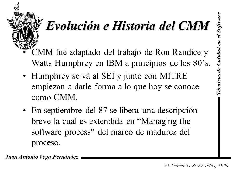 Técnicas de Calidad en el Software Derechos Reservados, 1999 Juan Antonio Vega Fernández CMM fué adaptado del trabajo de Ron Randice y Watts Humphrey