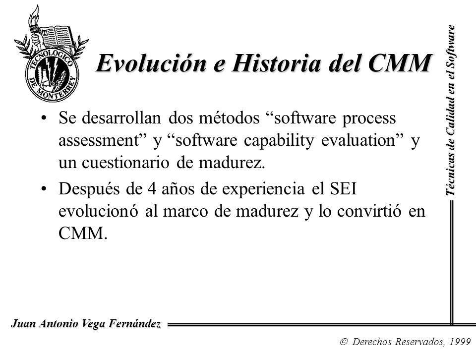 Técnicas de Calidad en el Software Derechos Reservados, 1999 Juan Antonio Vega Fernández Evolución e Historia del CMM Se desarrollan dos métodos softw