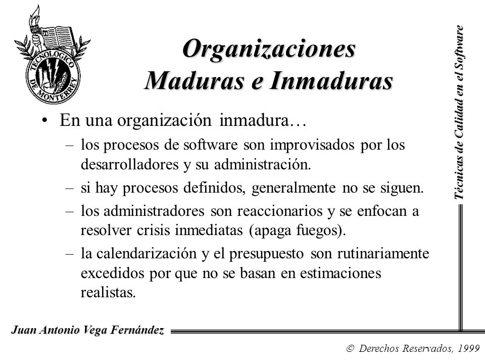 Técnicas de Calidad en el Software Derechos Reservados, 1999 Juan Antonio Vega Fernández CMM se basa en los principios de calidad desarrollados por Deming y Juran, en los que se establece que el control cuantitativo del proceso es la base del proceso de mejora continua.
