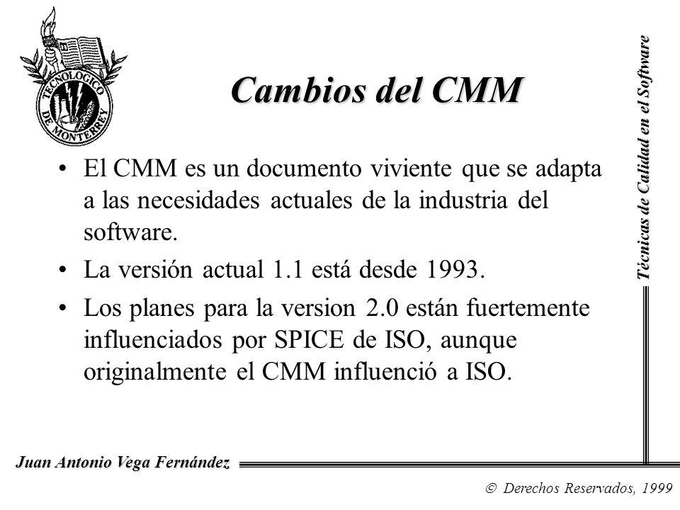 Técnicas de Calidad en el Software Derechos Reservados, 1999 Juan Antonio Vega Fernández El CMM es un documento viviente que se adapta a las necesidad