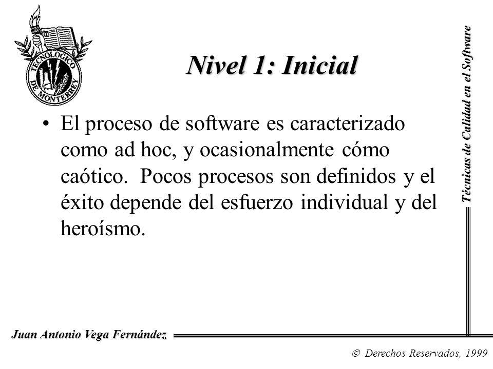 Técnicas de Calidad en el Software Derechos Reservados, 1999 Juan Antonio Vega Fernández El proceso de software es caracterizado como ad hoc, y ocasio