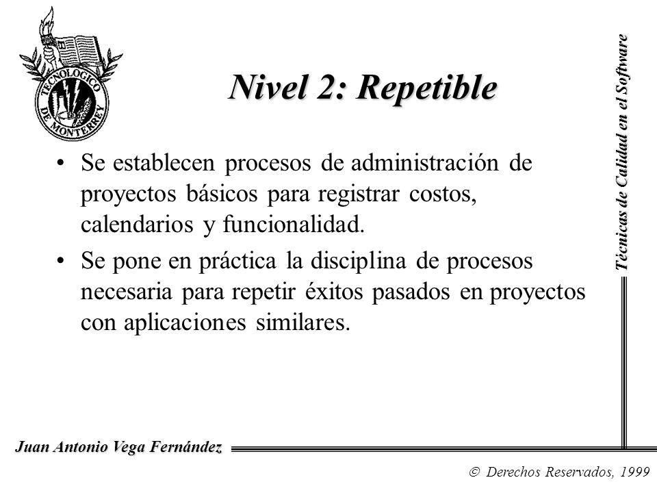 Técnicas de Calidad en el Software Derechos Reservados, 1999 Juan Antonio Vega Fernández Se establecen procesos de administración de proyectos básicos