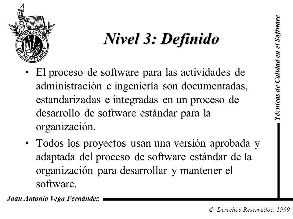 Técnicas de Calidad en el Software Derechos Reservados, 1999 Juan Antonio Vega Fernández El proceso de software para las actividades de administración