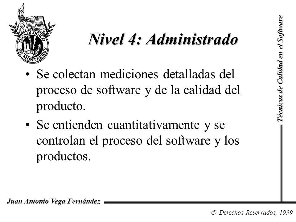 Técnicas de Calidad en el Software Derechos Reservados, 1999 Juan Antonio Vega Fernández Se colectan mediciones detalladas del proceso de software y d