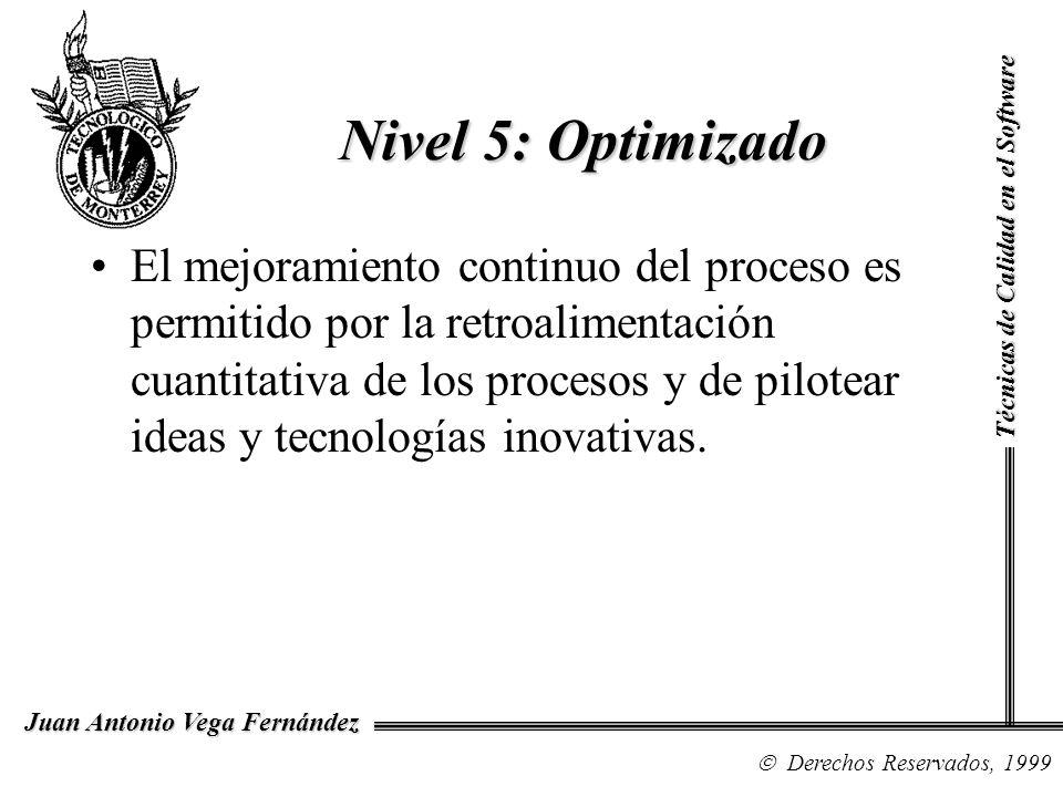 Técnicas de Calidad en el Software Derechos Reservados, 1999 Juan Antonio Vega Fernández El mejoramiento continuo del proceso es permitido por la retr