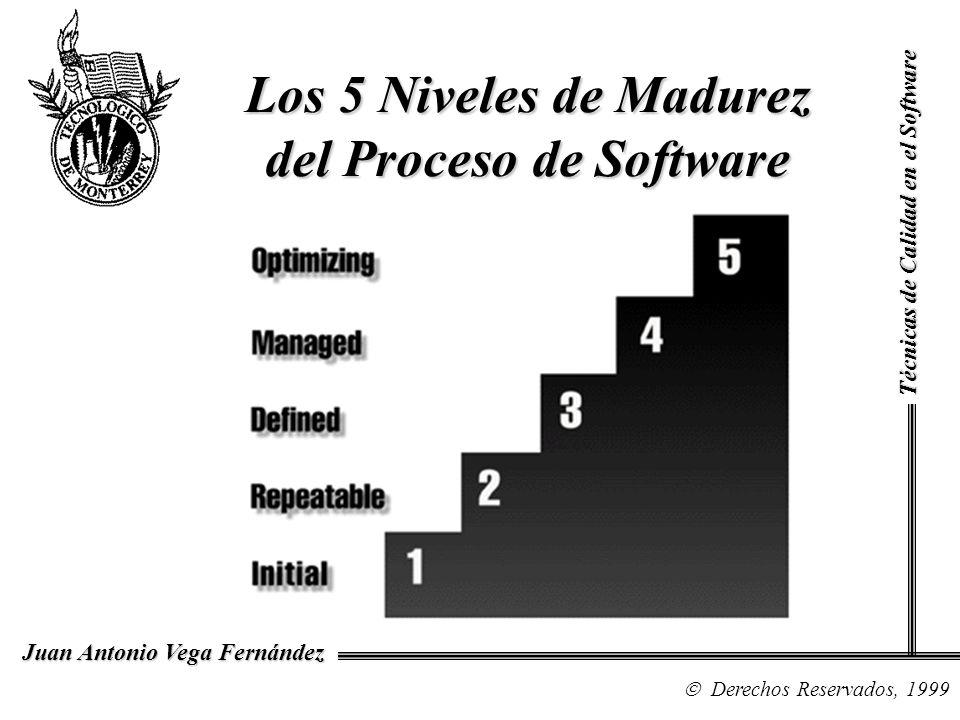 Técnicas de Calidad en el Software Derechos Reservados, 1999 Juan Antonio Vega Fernández Los 5 Niveles de Madurez del Proceso de Software