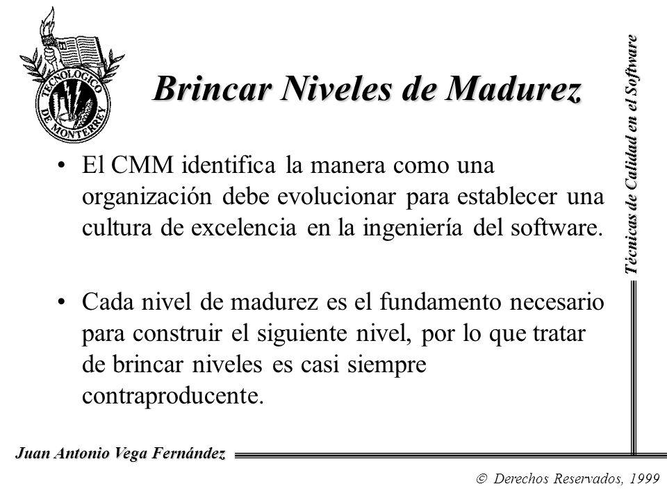 Técnicas de Calidad en el Software Derechos Reservados, 1999 Juan Antonio Vega Fernández El CMM identifica la manera como una organización debe evoluc
