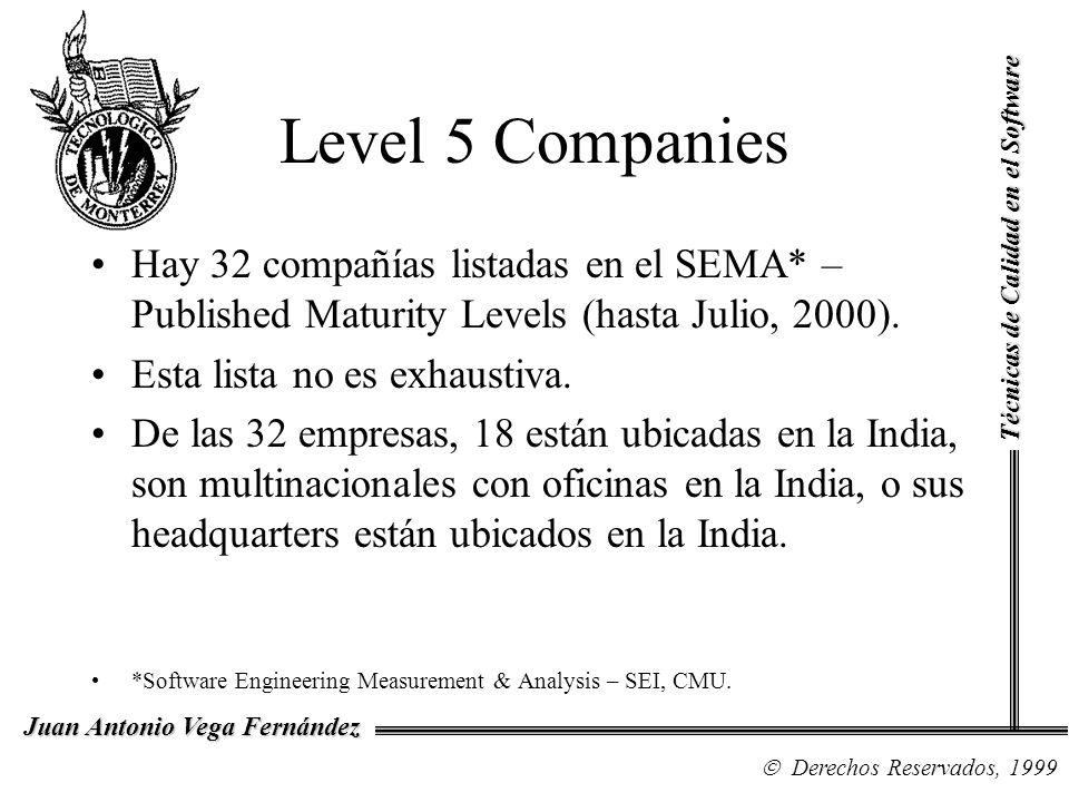 Técnicas de Calidad en el Software Derechos Reservados, 1999 Juan Antonio Vega Fernández Level 5 Companies Hay 32 compañías listadas en el SEMA* – Pub