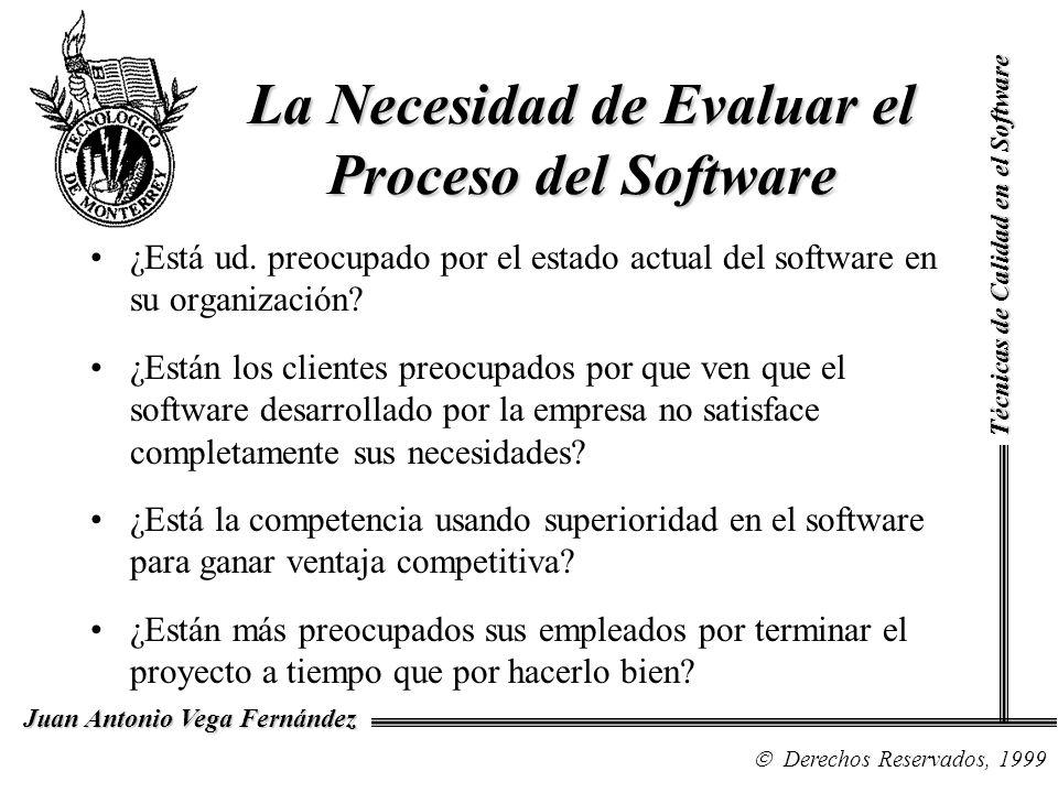 Técnicas de Calidad en el Software Derechos Reservados, 1999 Juan Antonio Vega Fernández La Necesidad de Evaluar el Proceso del Software ¿Está ud. pre