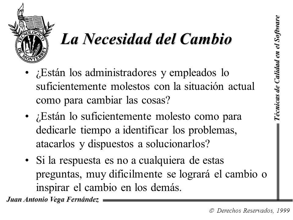 Técnicas de Calidad en el Software Derechos Reservados, 1999 Juan Antonio Vega Fernández La Necesidad del Cambio ¿Están los administradores y empleado