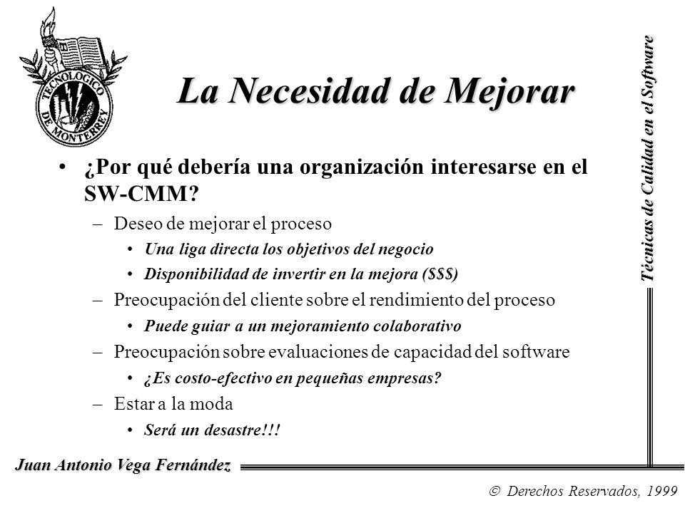 Técnicas de Calidad en el Software Derechos Reservados, 1999 Juan Antonio Vega Fernández La Necesidad de Mejorar ¿Por qué debería una organización int